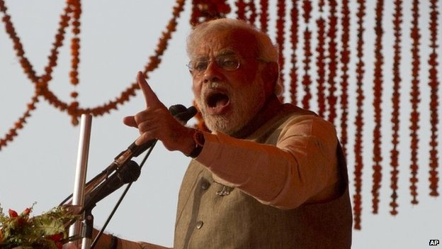 Narendra Modi at a rally on 4 April