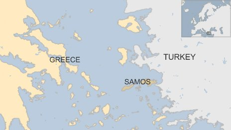 BBC map showing Samos, Greece and Turkey