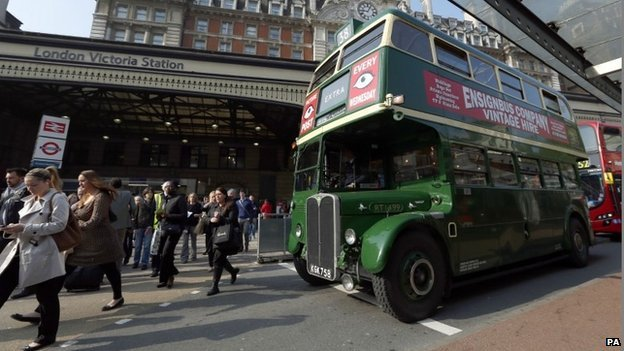A Routemaster bus outside Victoria station