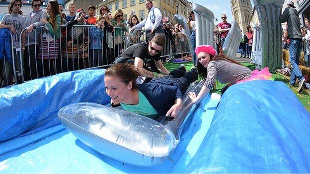 Giant slide, Park St, Bristol