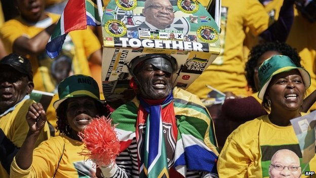Supporters of South Africa's governing African National Congress wearing shirts with the picture of President Jacob Zuma attend the final ANC election campaign rally at Soccer City stadium in Johannesburg on 4 May 2014