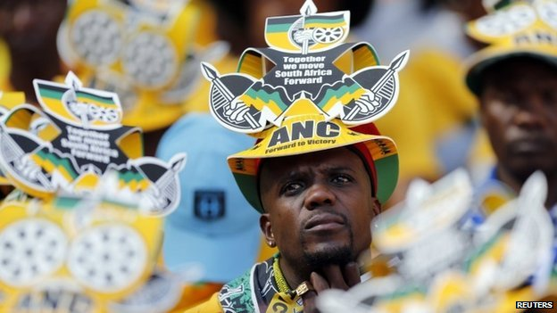 Supporters of South Africa's President Jacob Zuma's  African National Congress (ANC) listen to speakers during their party's final election rally in Soweto, on 4 May 2014