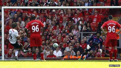 John Bishop (left) playing at Anfield
