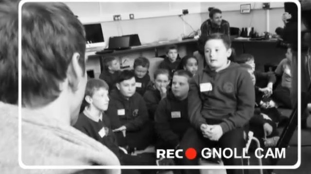 Dan Biggar is quizzed by Gnoll Primary School pupils
