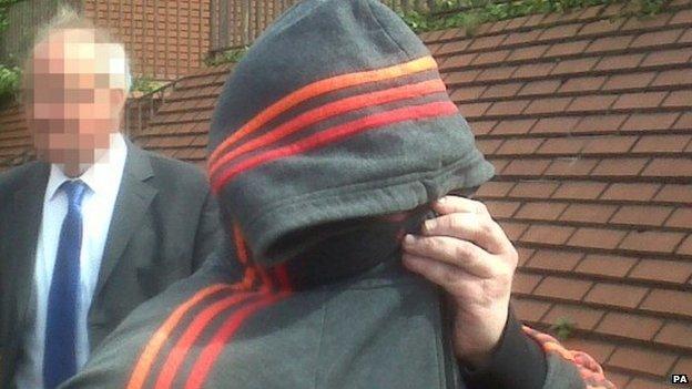 Robert Riley leaving Leeds Magistrates' Court