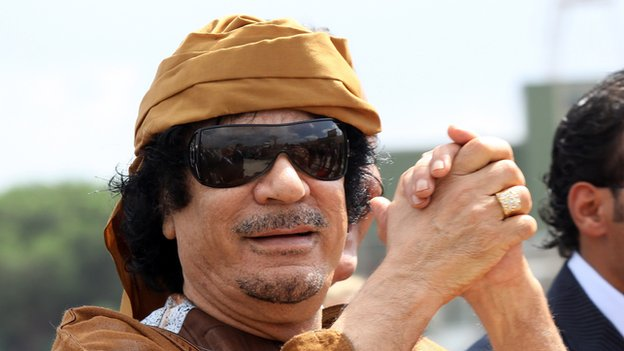 Killed Libyan leader Muammar Gadaffi arrives at Ciampino airport in Rome on 29 August 2010