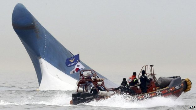 In this 16 April 2014 file photo, South Korean coast guard officers try to rescue passengers from the Sewol ferry as it sinks in the water off the southern coast near Jindo, south of Seoul, South Korea