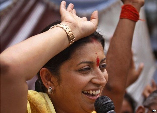 Bharatiya Janata Party (BJP) candidate Smriti Irani speaks at an election rally in Amethi, India, Sunday, April 20, 2014.