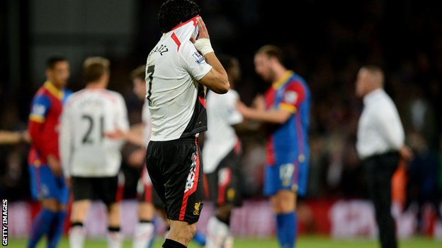 Liverpool's Luis Suarez sheds tears at Crystal Palace.