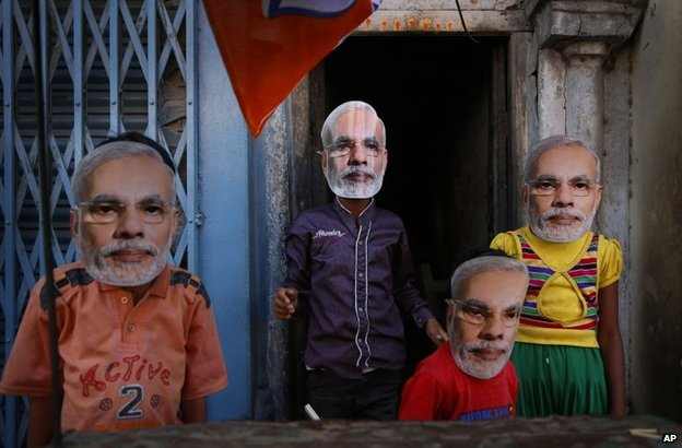 Children wearing Narendra Modi masks in Varanasi