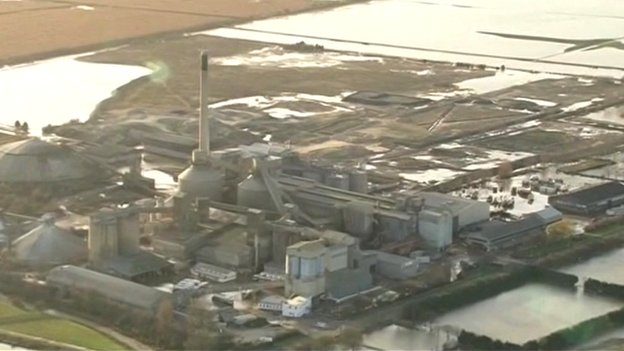 Aerial view of the cement-making factory