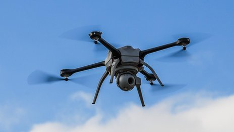 A drone or radio controlled aircraft