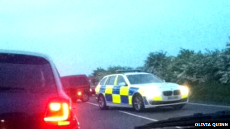 Police car on Maldon Road, Stanway