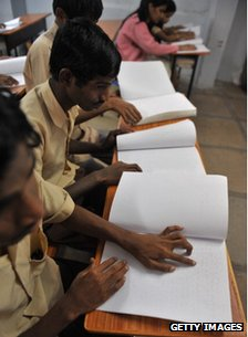Braille being used at a school in India