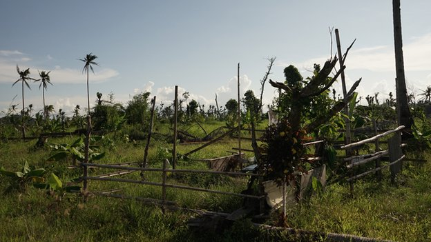 Mass grave during current visit to Tacloban, Leyte, Philippines