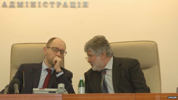 Ihor Kolomoisky (right) and Ukrainian PM Arseniy Yatsenyuk