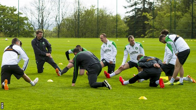 Celtic players training