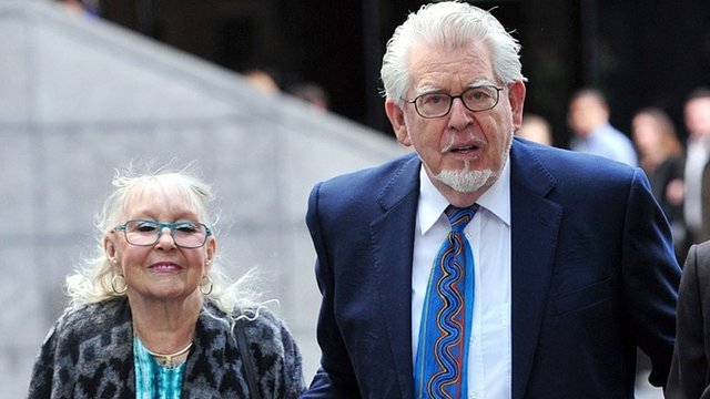 Rolf Harris arrives with his wife Alwen Hughes