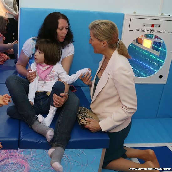 The Countess of Wessex in the sensory area at the Our House centre in Wokingham