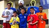 Chelsea Asian Star winners from left - Qasim Khan, Ibrahim Khan, Rayhaan Majid and Kamran Khalid with their trophies and previous winner Sam Khan (front centre)