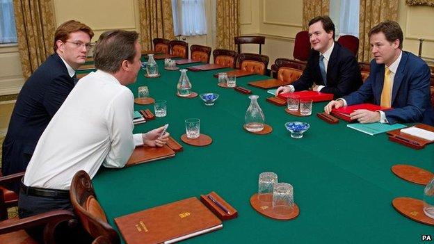 Danny Alexander, David Cameron, George Osborne, Nick Clegg