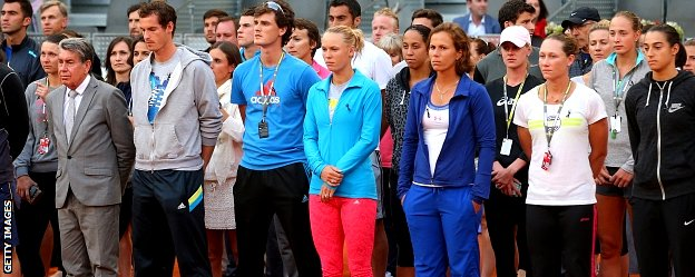 Manolo Santana, Andy Murray, Jamie Murray and Caroline Wozniacki of Denmark are among a group of current and former players who paid tribute to Baltacha in Madrid on Monday