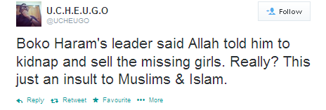 Boko Haram's leader said Allah told him to kidnap and sell the missing girls. Really? This just an insult to Muslims & Islam.
