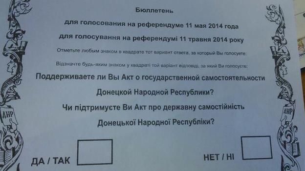 A Donetsk referendum bulletin