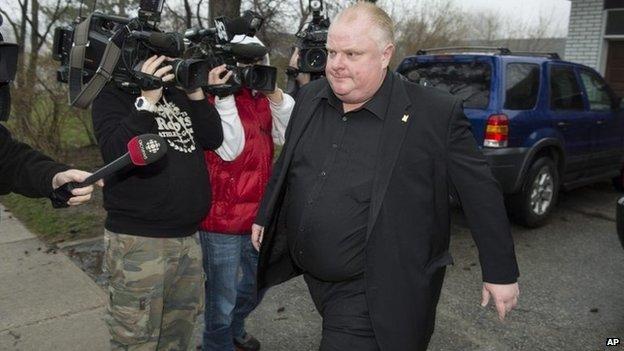 Toronto Mayor Rob Ford leaves his home 1 May 2014
