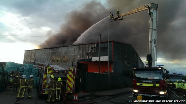 Fire at recycling plant in Scunthorpe