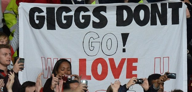 Supporters paid tribute to Ryan Giggs on what was potentially his final playing appearance at Old Trafford