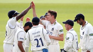 Warwickshire fast bowler Richard Jones celebrates one of his five wickets against Middlesex at Edgbaston