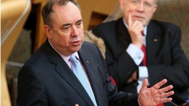 Alex Salmond speaking in the Scottish Parliament