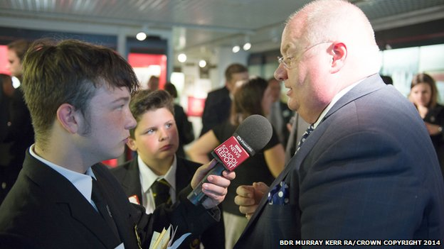 Sam (left) and Regan interview Eric Pickles