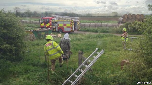 Passengers evacuated from train by firefighters