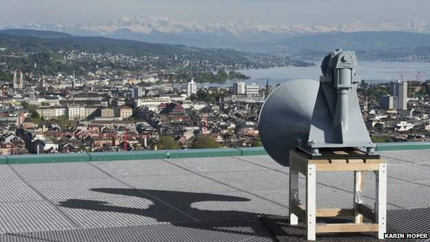 Foghorn on rooftop in Zurich
