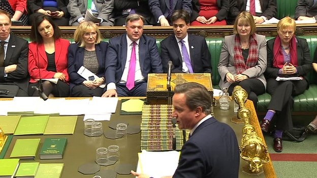 David Cameron watched by the Labour front bench
