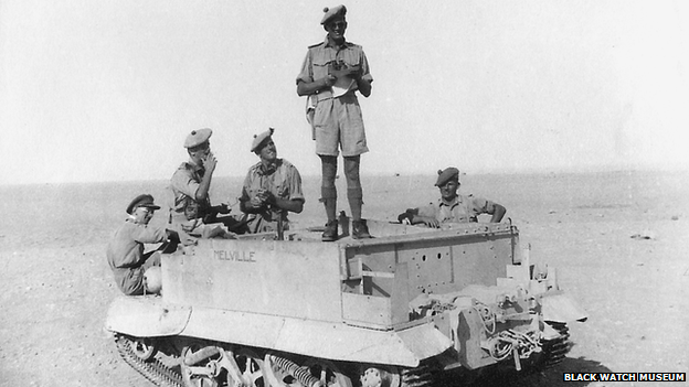 Members of the 7th Battalion of the Black Watch regiment train in preparation for El Alamein.