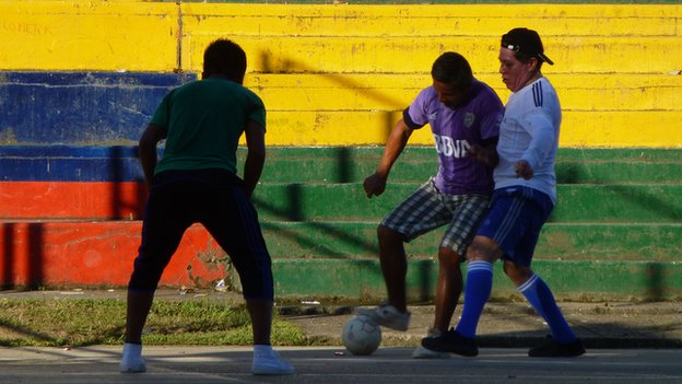 A football match in Puerto Leguizamo