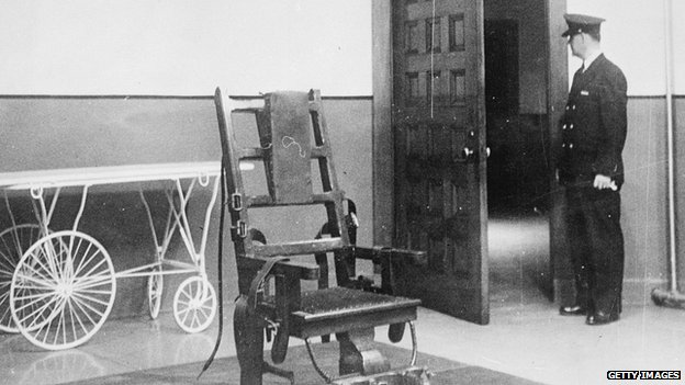 Electric chair photographed in 1951