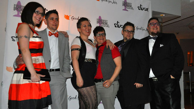 Tristan Taormino, Colten Taormino, and others pose at the Feminist Porn Awards