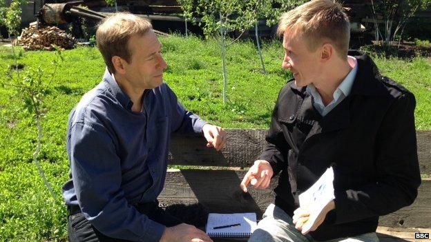 Pro-Kiev activist Yevgenny Semechin with Richard Galpin