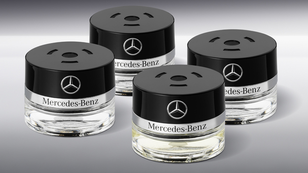 The Mercedes fragrance bottles