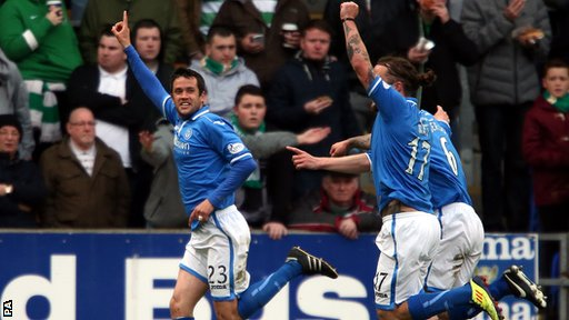 "St Johnstone""s Tim Clancy celebrates scoring during the Scottish Premiership match at McDiarmid Park"