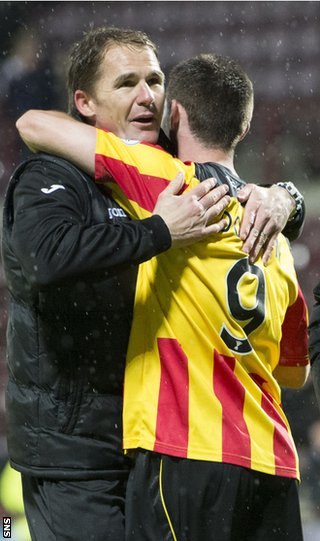 Partick Thistle boss Alan Archibald and Kris Doolan