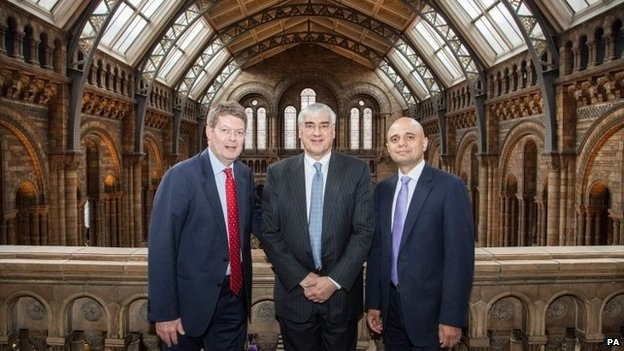 Dr Michael Dixon, Sir Michael Hintze and Secretary of State for Culture, Media and Sport Sajid Javid