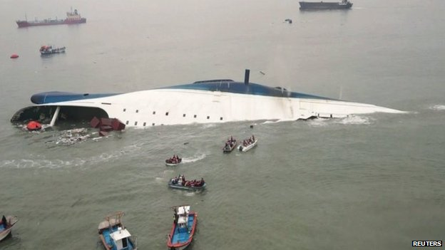 The South Korean ferry Sewol sinks off Jindo, South Korea, on 16 April 2014