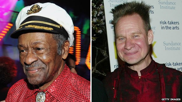 Chuck Berry (left) and Peter Sellars