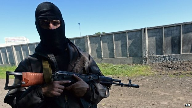 An armed pro-Russian fighter in Sloviansk - 7 May 2014