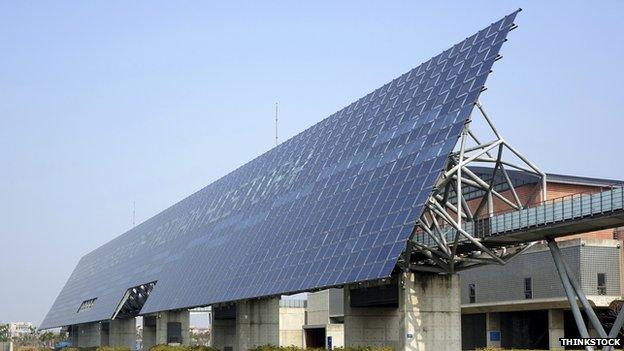 Giant solar panel wall